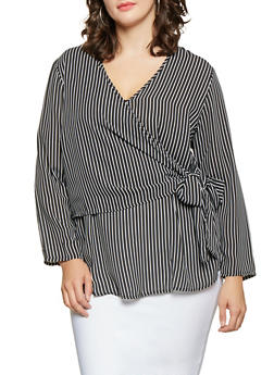 Plus Size Striped Tie Front Top - BLACK - 3803051060405