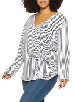 Plus Size Striped Tie Front Top - WHITE - 3803051060405