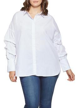 Plus Size Bubble Sleeve Striped Shirt - 3803051060412