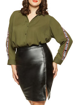 Plus Size Graphic Tape Detail Blouse - 3803051060427