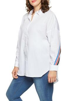 Plus Size Striped Tape Trim Shirt - 3803051060429
