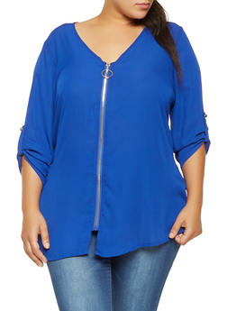 Plus Size Zip Up Blouse - 3803051060452