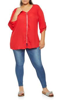 Plus Size Zip Up Blouse - 3803051060452