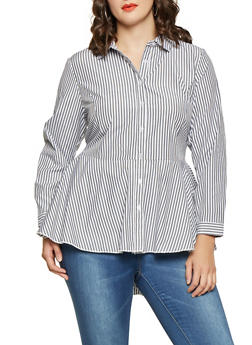 Plus Size Striped High Low Shirt - 3803051060463