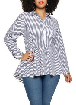 Plus Size Striped High Low Shirt - 3803051060463