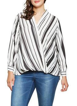 Plus Size Striped Faux Wrap Blouse - 3803051060465