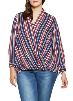 Plus Size Striped Faux Wrap Blouse - 3803051060465