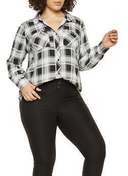 Plus Size Grommet Detail Plaid Shirt - 3803051060468