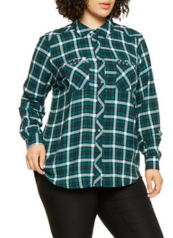 Plus Size Grommet Detail Plaid Shirt - 3803051060468