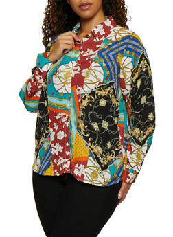 Plus Size Printed Long Sleeve Shirt - 3803051061007