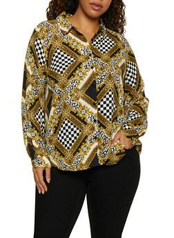 Plus Size Printed Long Sleeve Shirt - BLACK/WHITE - 3803051061007
