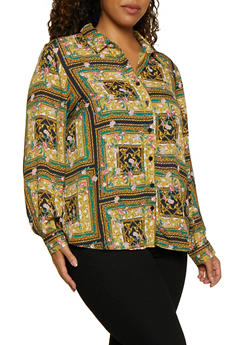 Plus Size Printed Long Sleeve Shirt - GREEN - 3803051061007