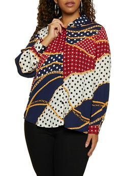 Plus Size Printed Long Sleeve Shirt - NAVY - 3803051061007