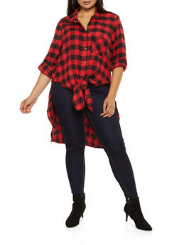 Plus Size Plaid High Low Shirt - 3803051061034