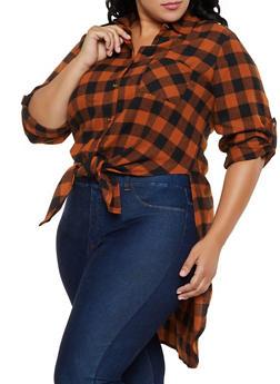 Plus Size Plaid High Low Flannel Shirt - 3803051061034