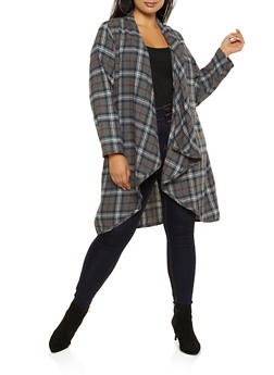 Plus Size Flyaway Plaid Duster - 3803051061035