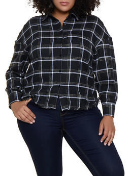 Plus Size Plaid Flannel Frayed Shirt - 3803051061038