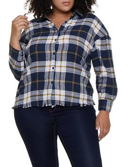 Plus Size Plaid Flannel Frayed Shirt - 3803051061038