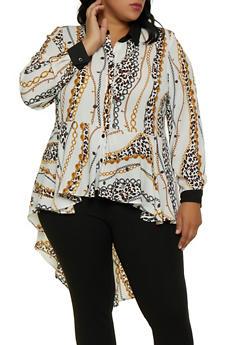 Plus Size Printed High Low Shirt - 3803051061040