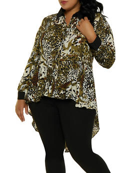 Plus Size Printed High Low Shirt - 3803051061040