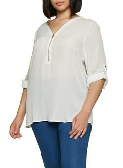 Plus Size Half Zip Blouse - 3803051061136