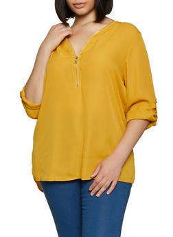 Plus Size Half Zip Blouse - 3803051061136