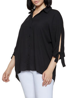 Plus Size Tie Sleeve High Low Shirt - 3803051061139