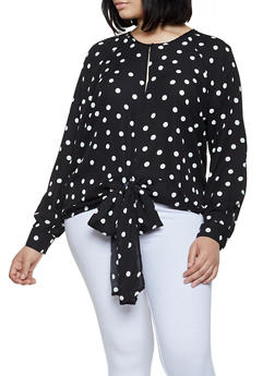 434660df202135 Plus Size Tie Front Polka Dot Blouse - 3803051061141