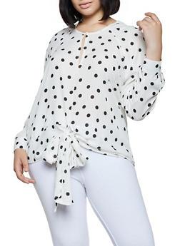 5073a1db052008 Plus Size Tie Front Polka Dot Blouse - 3803051061141