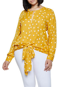 Plus Size Tie Front Polka Dot Blouse - 3803051061141