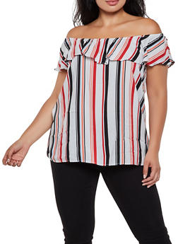 3595d680616781 Plus Size Striped Off the Shoulder Top | 3803051061208 - 3803051061208
