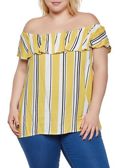 Plus Size Striped Off the Shoulder Top | 3803051061208 - 3803051061208