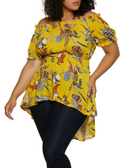 Plus Size Printed Smocked Waist Off the Shoulder Top - 3803051061818
