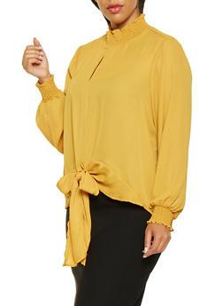 Plus Size Tie Front Blouse - 3803051066029