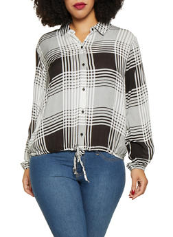 Plus Size Plaid Button Front Shirt - 3803051066033
