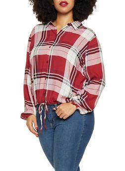Plus Size Plaid Button Front Shirt - 3803051066033