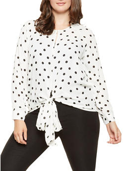 Plus Size Polka Dot Tie Front Blouse - 3803051066035