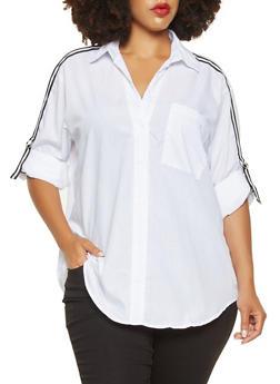 Plus Size Ribbon Trim Sleeve Shirt - 3803051066036