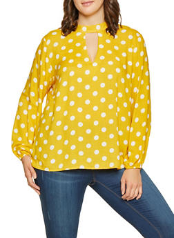 Plus Size Polka Dot Keyhole Top - 3803051066045