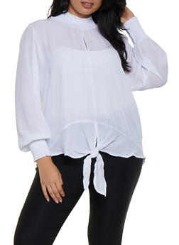 Plus Size Tie Front Smocked Trim Blouse - 3803051066103