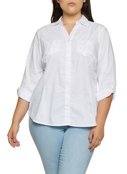 Plus Size Button Front Shirt - 3803051066663