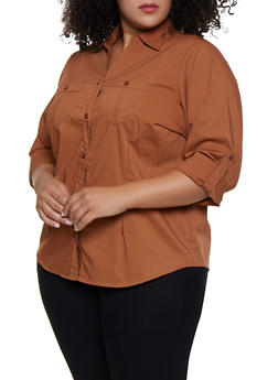 Plus Size Button Front Shirt - 3803051066663