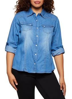 Plus Size Denim Snap Front Shirt - 3803051066673