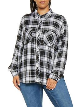 Plus Size Plaid Long Sleeve Shirt - WHITE - 3803051066969