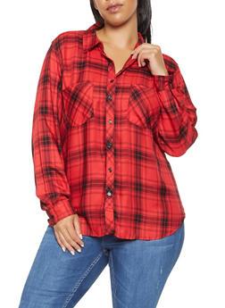 Plus Size Plaid Long Sleeve Shirt - 3803051066969