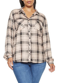 Plus Size Plaid Long Sleeve Shirt - PINK - 3803051066969
