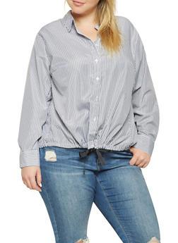 Plus Size Button Front Shirt - 3803051066984