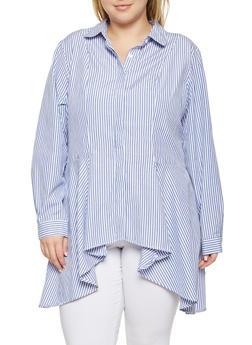 Plus Size Sharkbite Hem Button Front Shirt - 3803051067690