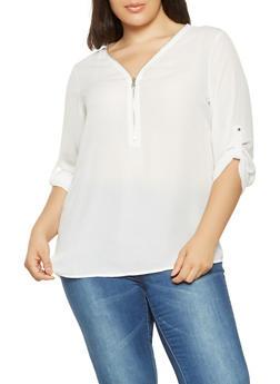 Plus Size Zip Neck Blouse - 3803051068135