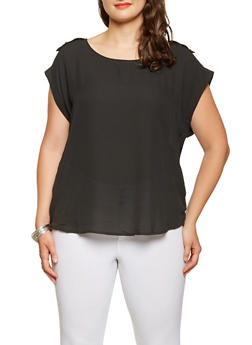 Plus Size Tabbed Shoulder Blouse - 3803051068763
